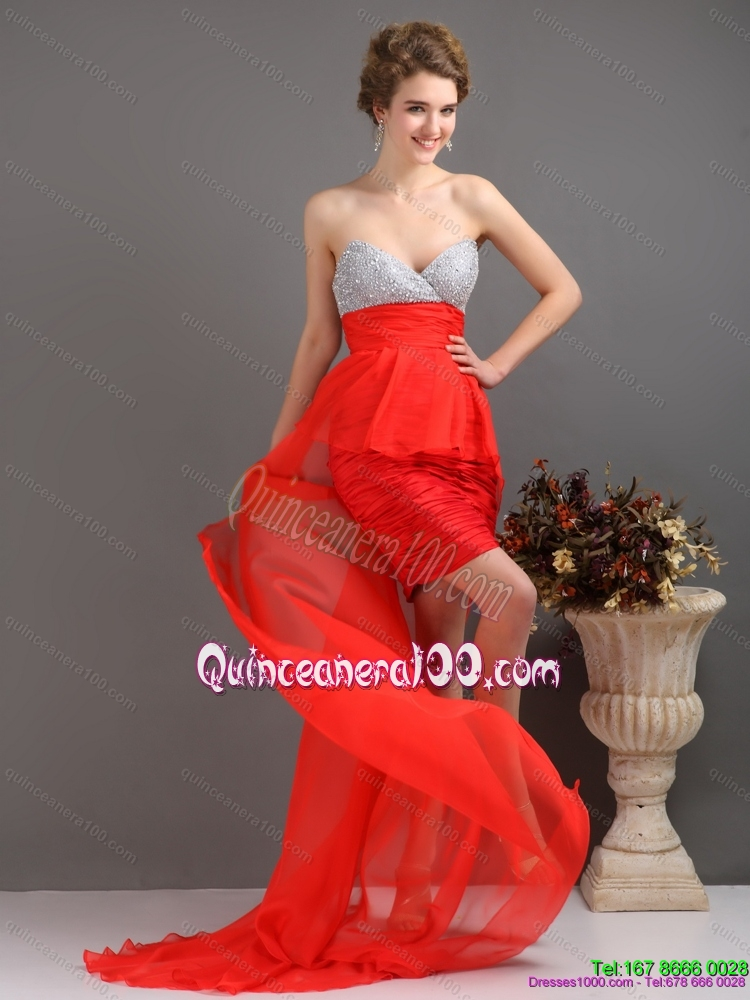 New Style Red High Low Dama Dresses with Ruching and Beading ...