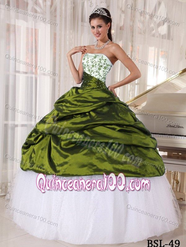 White and Olive Green Ball Gown Quince Dress in Taffeta and Tulle ...