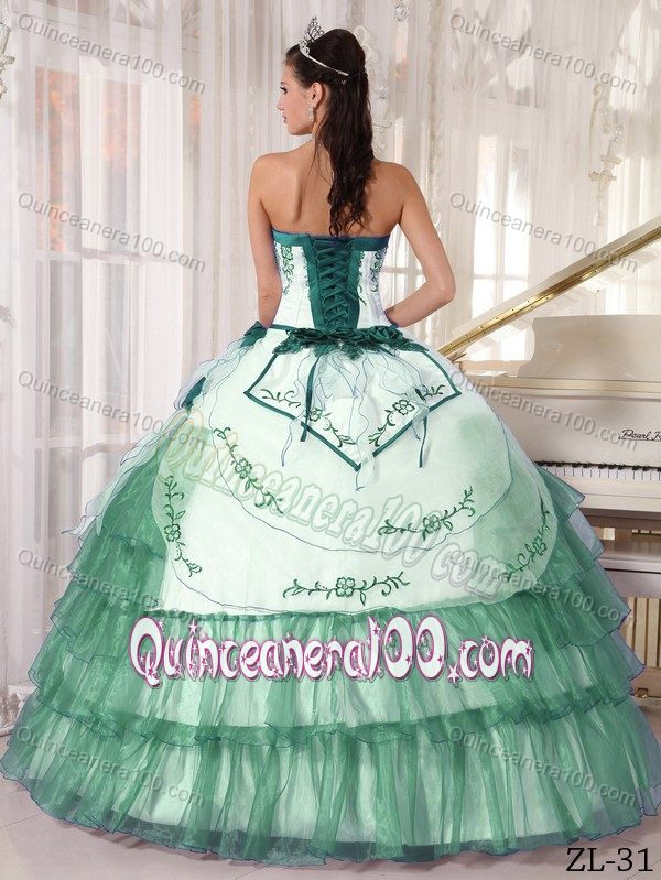Ball Gown Dress Quinces with Embroidery in White and Turquoise ...