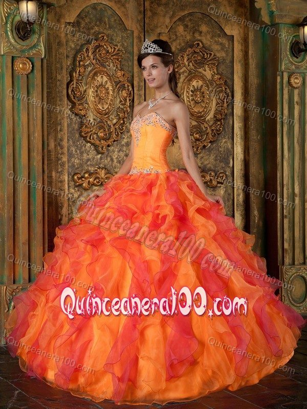 Orange and Coral Red Dress for Quinceanera with Sweetheart ...