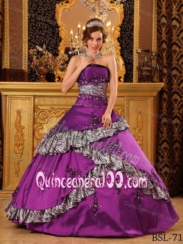 Exclusive Purple with Zebra Print 2013 Quinceanera Dress Sale ...