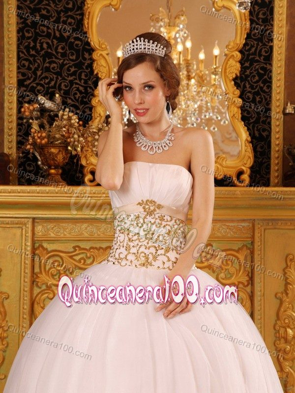Graceful White and Gold Strapless 2013 Quinceanera Dress Ruched ...