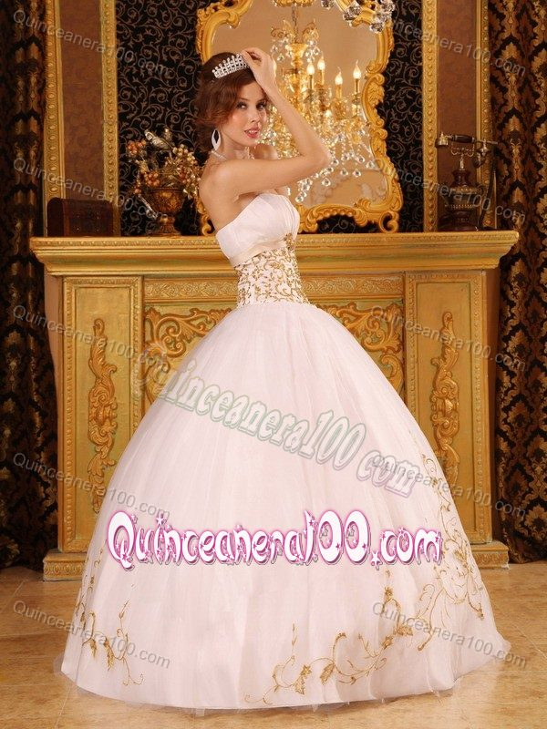Graceful White and Gold Strapless 2013 Quinceanera Dress ...