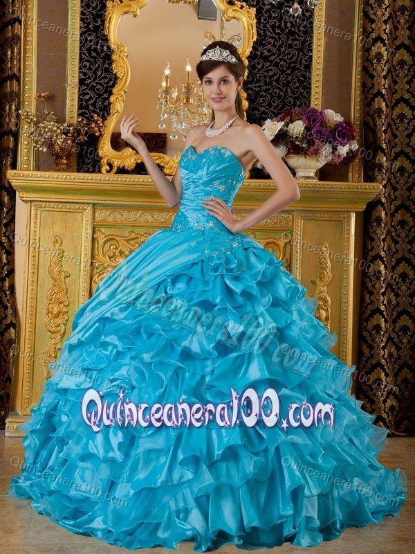 Teal Quinceanera Dresses 2013 Baby Blue Ruffled for ...