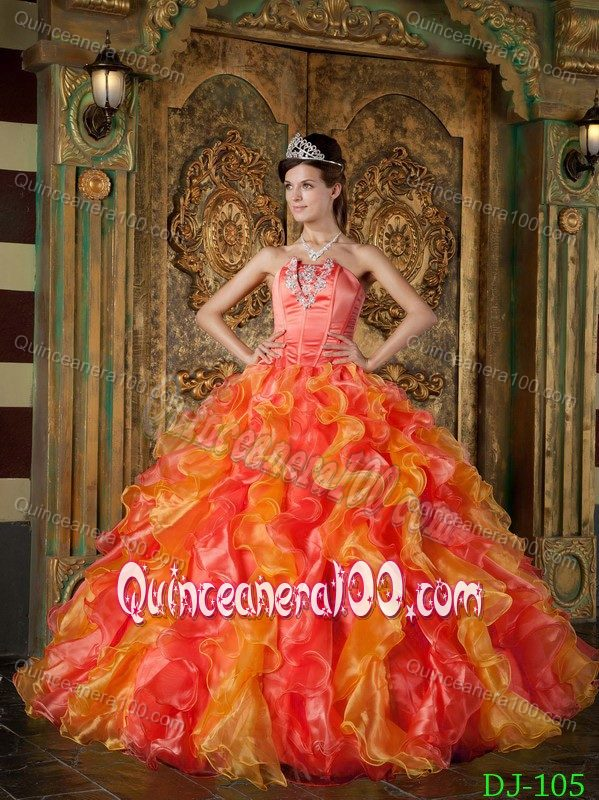 Discount Organza Orange Red Ruffled Quinceanera Dress 2014 ...