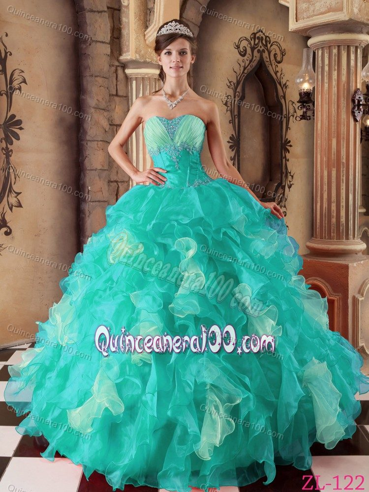 Discount Beaded Aqua Blue Sweet 16 Dresses with Ruffles ...
