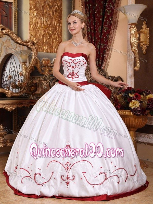 White and Red Satin Embroidery Quinceanera Dress for Cheap ...