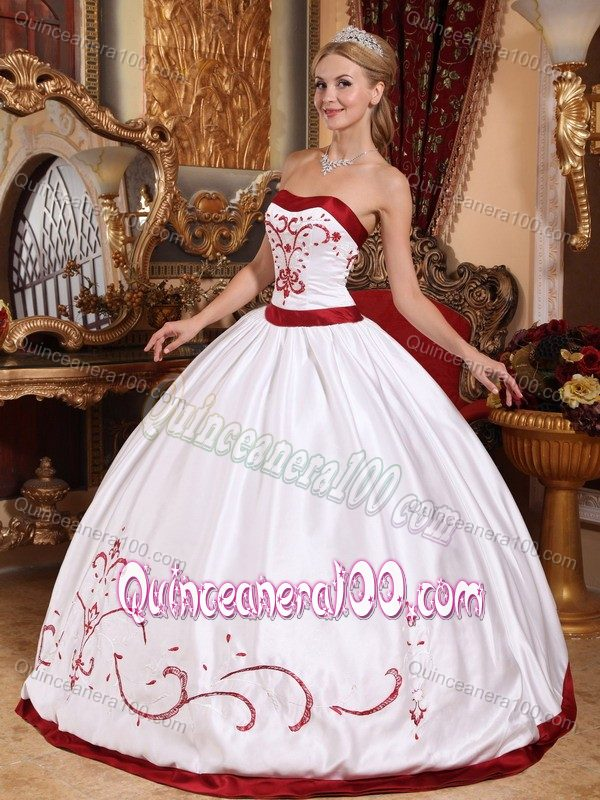 White And Red Satin Embroidery Quinceanera Dress For Cheap