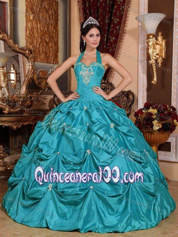 Teal color quinceanera dresses