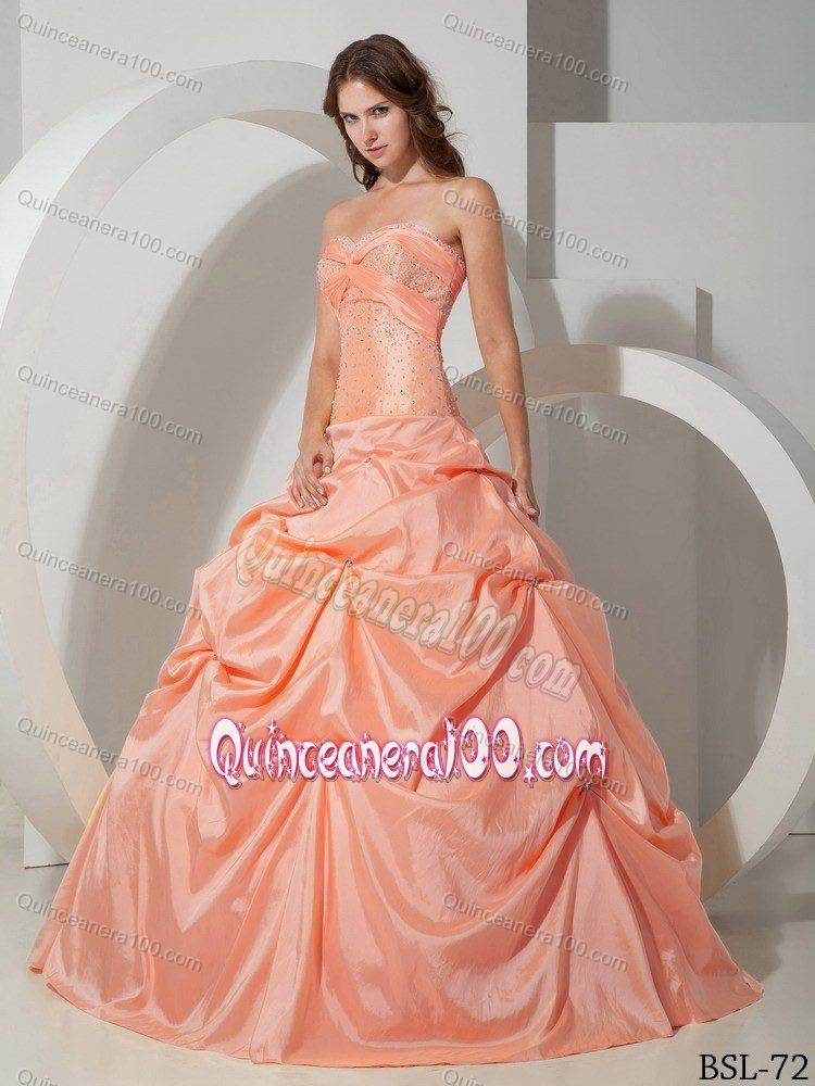 7f57c29ef11 Sweetheart Beading Salmon Colored Pick-ups Quinceanera Dress. triumph