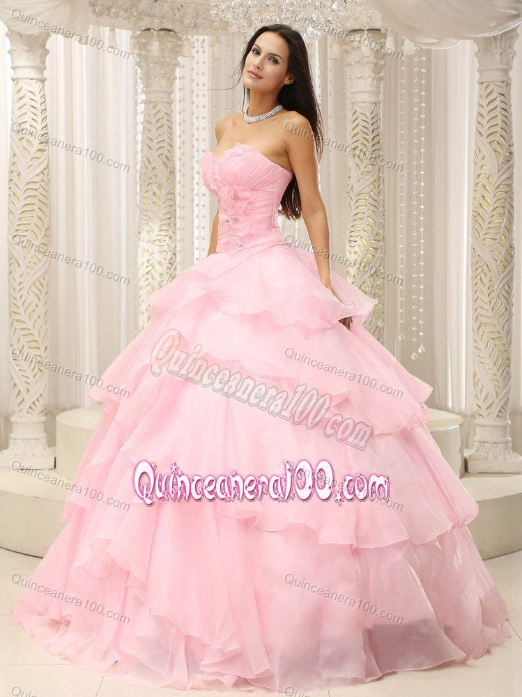 Ruching Sweetheart Baby Pink Quinceanera Dress with Layered ...