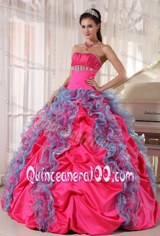 Hot Pink and Blue Quince Dresses Strapless Beading and Ruffles ...
