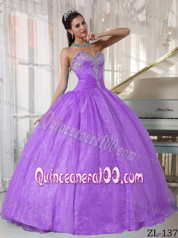 Lilac Sweetheart Ball Gown Sweet 16 Dresses with Appliques ...