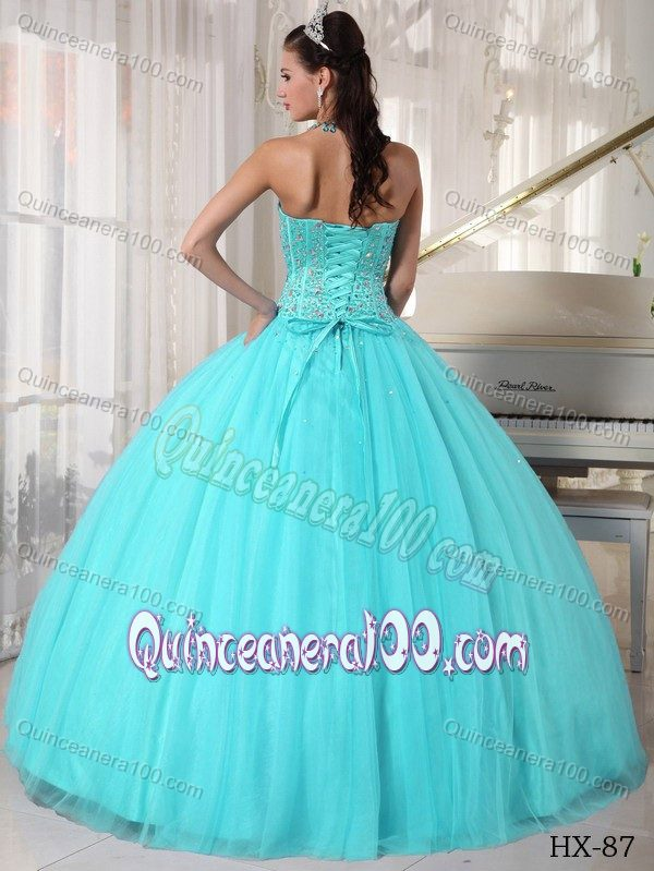 Aqua Blue Ball Gown Sweetheart Beaded Quinceanera Dresses ...