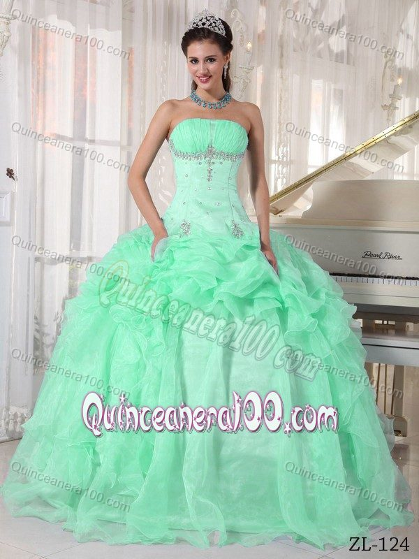 22ea767da26  987.64  116.57  Apple Green Ruched Strapless Beading Quinceanera Dresses  Gowns