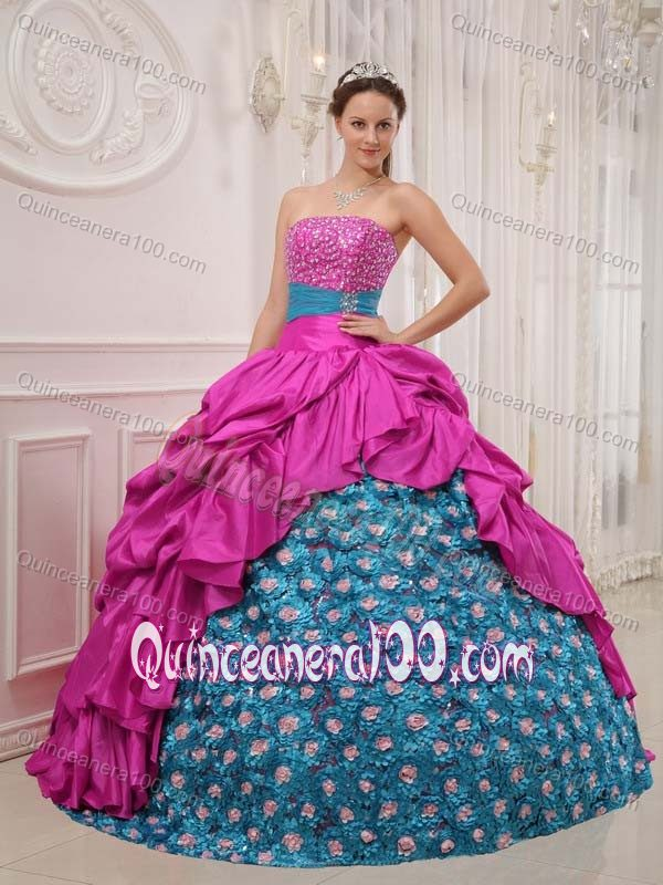 Pick-ups and Flowers Beading Quinceanera Dress in Hot Pink and ...