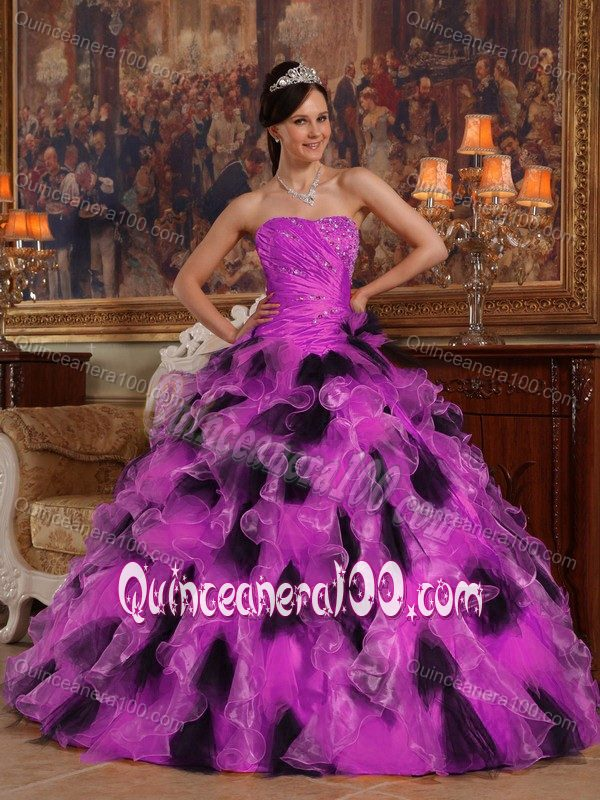 d7a845ee00e Make me a supermodel Fuchsia and Black Ruffles Quinceanera Dress with Ruche  and Beading