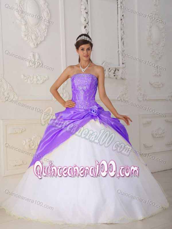 698665f1662 Appliques and Hand Flower Quinceanera Dress in Purple and White ...