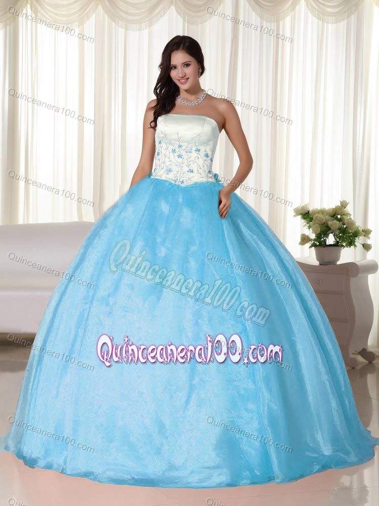 e0cfb089dae White and Aqua Blue Strapless Floor-length Appliques Quinceanera Dress.  triumph