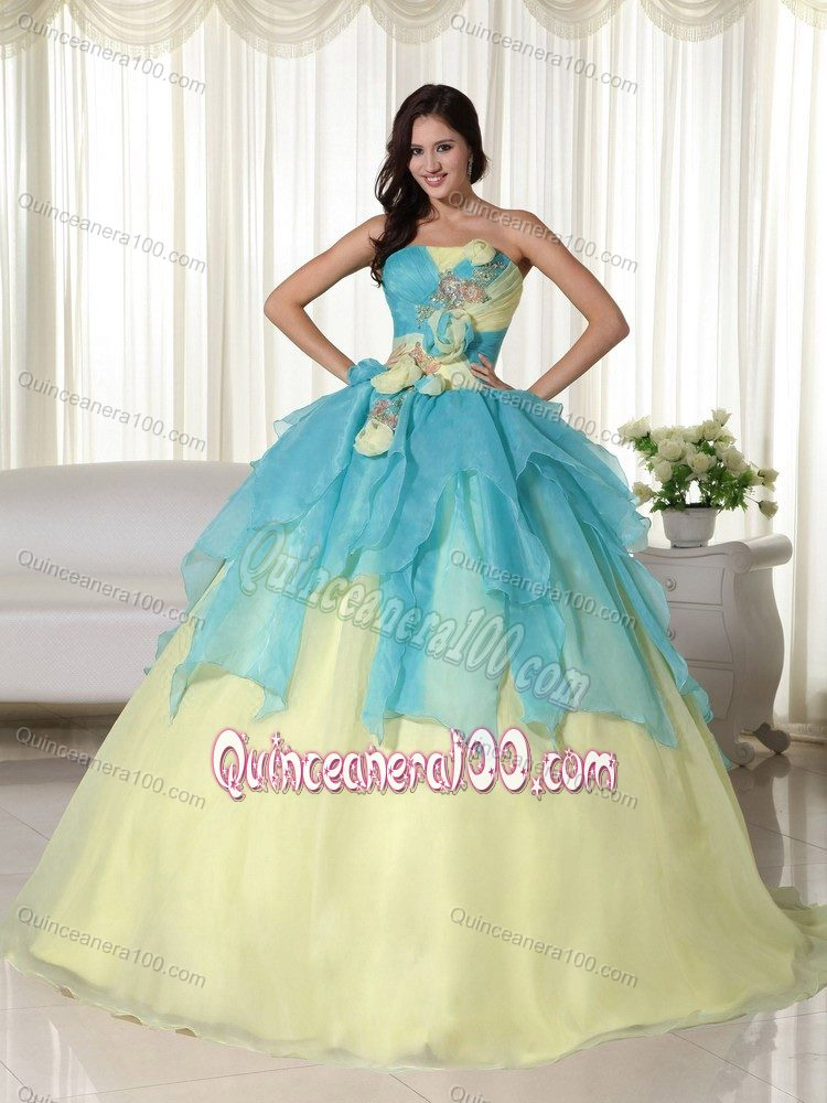 Layers and Hand Made Flowers Strapless Dresses 15 in Teal and ...