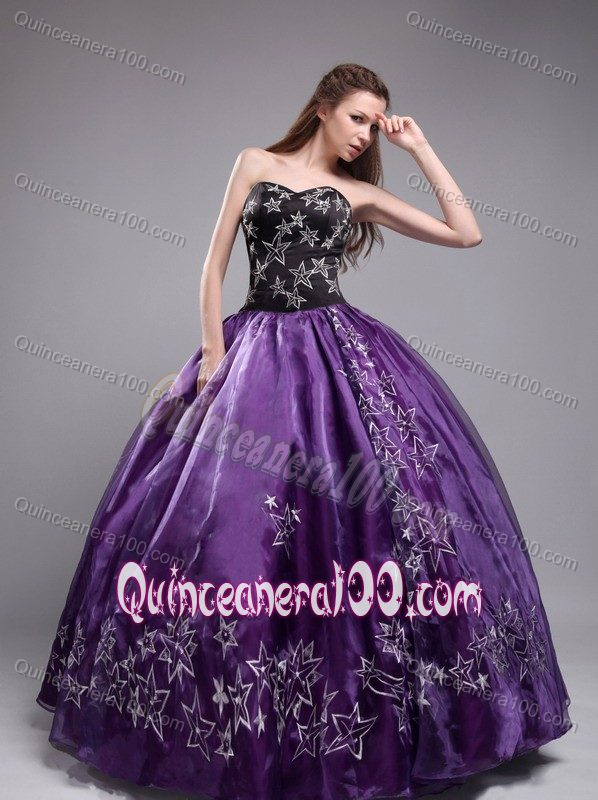 Eggplant Purple and Black Quinceanera Dress with Star Embroidery ...