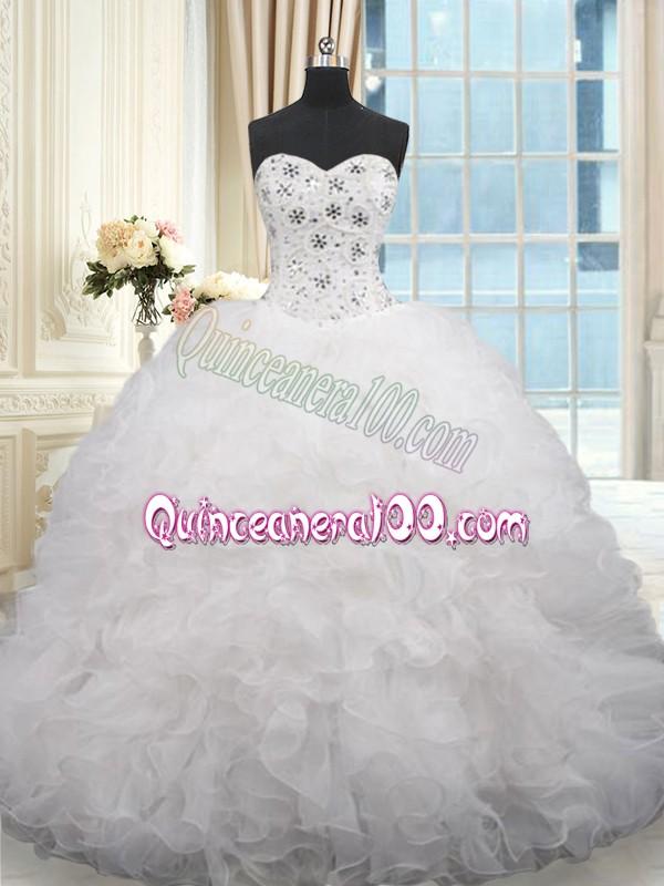 0b7080285f6 Traditional White Quinceanera Dresses Organza Brush Train Sleeveless Beading  and Ruffles
