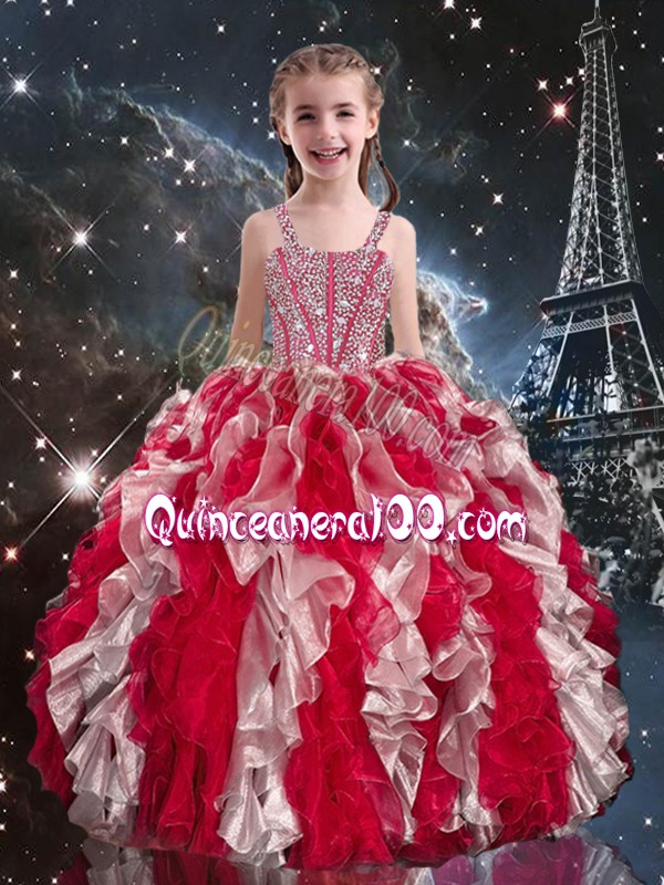 Ball Gowns Evening Gowns Wine Red Straps Organza Sleeveless Floor Length Lace Up