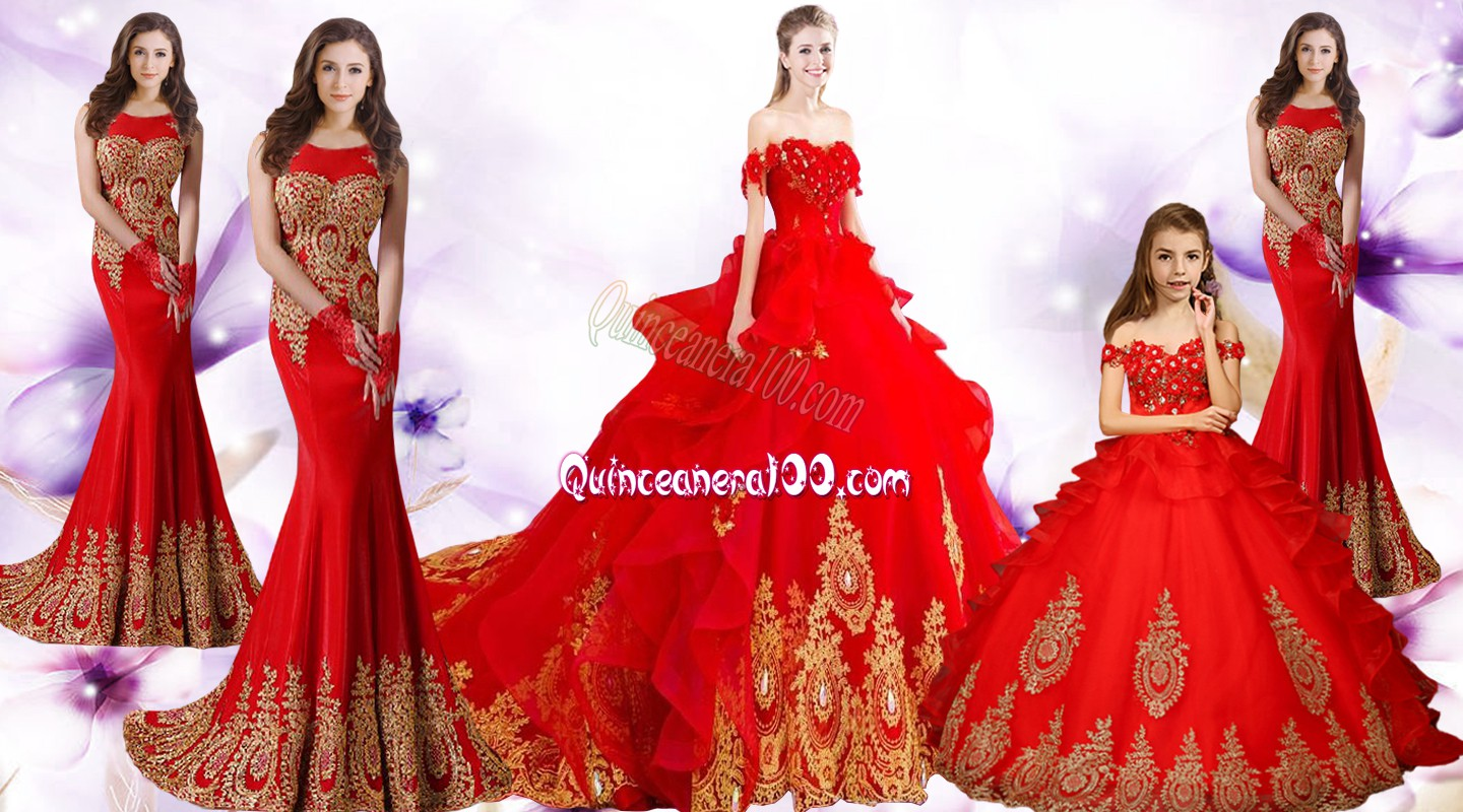 13450b14f50 Red Sweetheart Lace Up Beading and Appliques and Embroidery 15th Birthday  Dress Brush Train Sleeveless. triumph