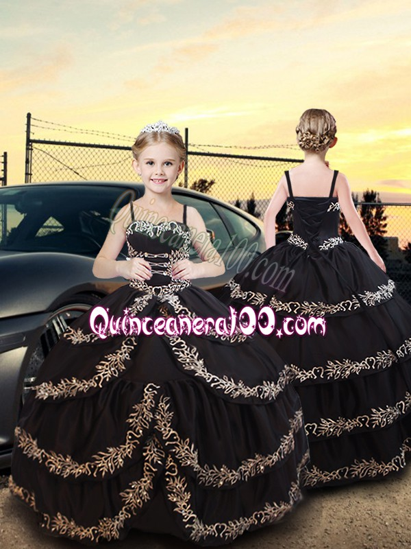 Simple Floor Length Black Pageant Dress for Teens Spaghetti Straps Sleeveless Lace Up