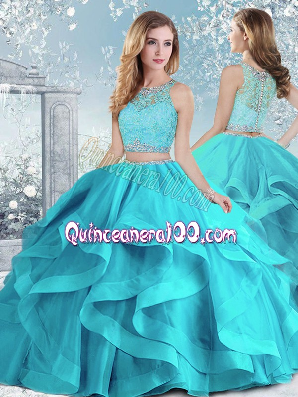Floor Length Clasp Handle Quinceanera Dress Aqua Blue for Military Ball and Sweet 16 and Quinceanera with Beading and Ruffles