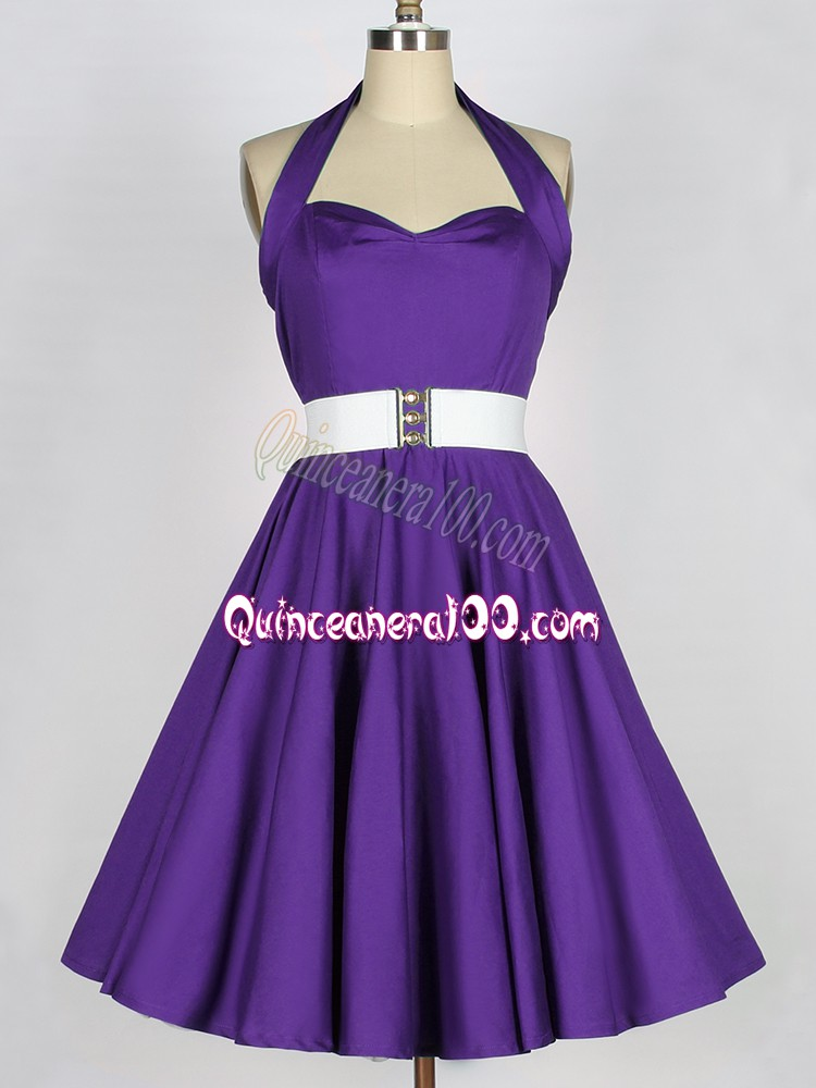 Purple Quinceanera Dama Dress Prom and Party and Wedding Party with Ruching Halter Top Sleeveless Zipper