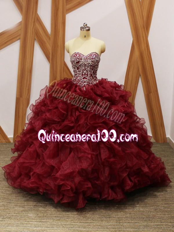 19e09bb0815 Beautiful Burgundy Sleeveless Brush Train Beading and Ruffles Sweet 16  Quinceanera Dress. triumph