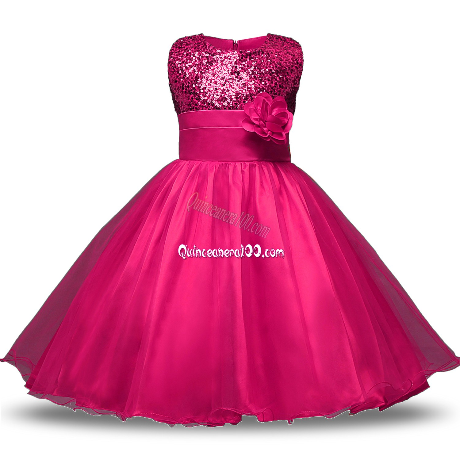 c66d0b84b9 Hot Pink Organza and Sequined Zipper Toddler Flower Girl Dress ...