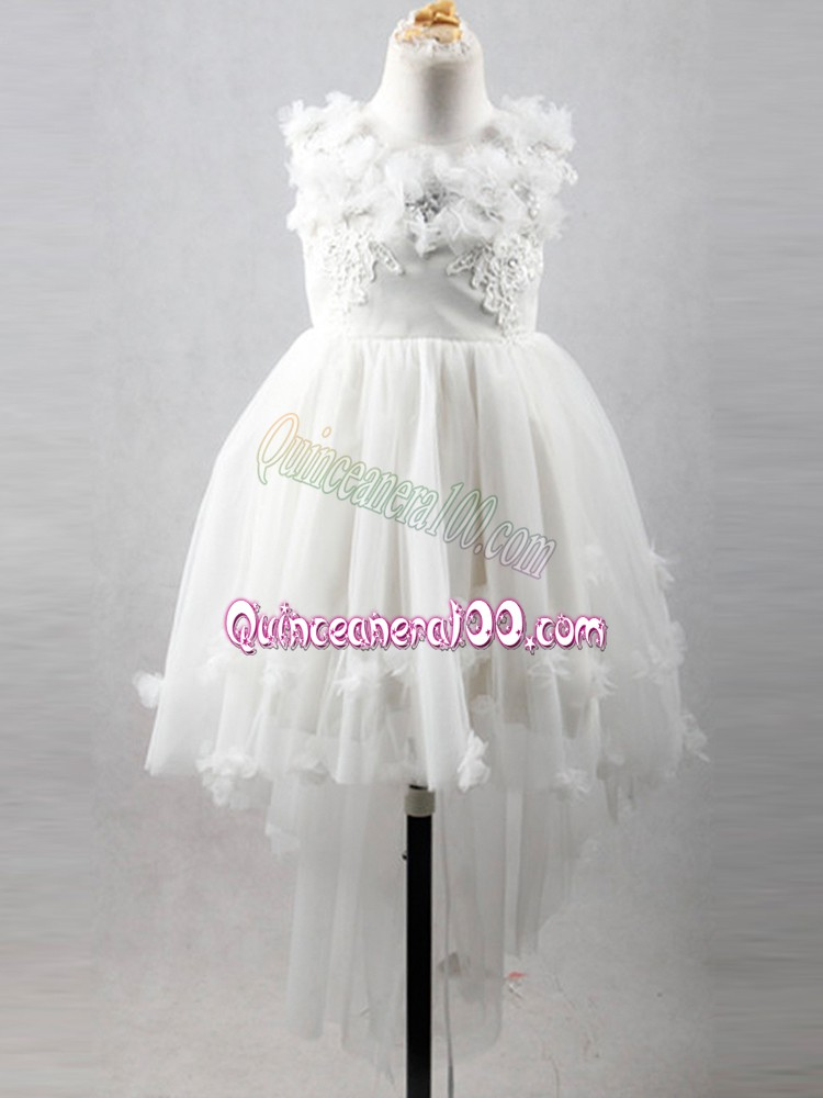 White Lace Up Scoop Appliques Girls Pageant Dresses Tulle Sleeveless