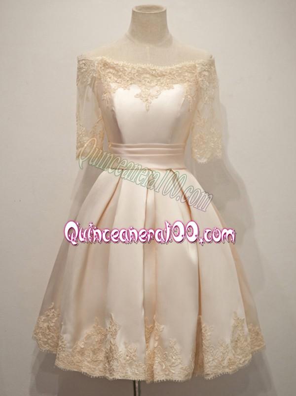 c4b6cc235f9 Champagne Taffeta Zipper Off The Shoulder Half Sleeves Knee Length Dama  Dress for Quinceanera Lace. triumph