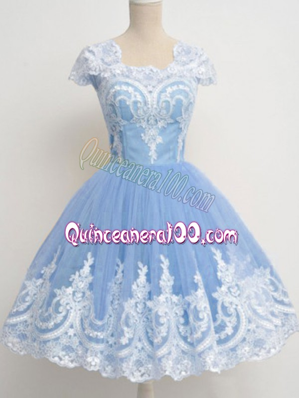 Light Blue Cap Sleeves Knee Length Lace Zipper Quinceanera Court of Honor Dress