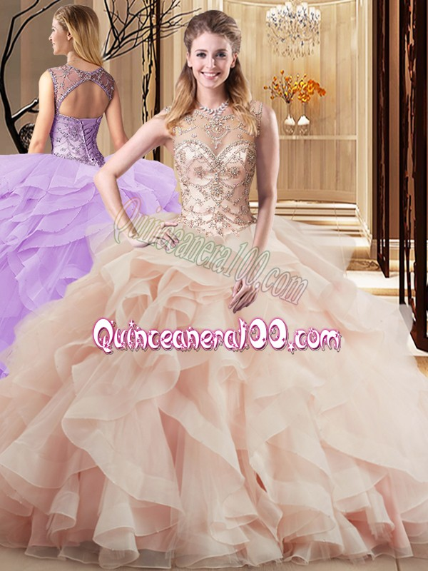 0842dc096c9 Scoop Sleeveless Tulle Sweet 16 Dress Beading and Ruffles Brush Train Lace  Up
