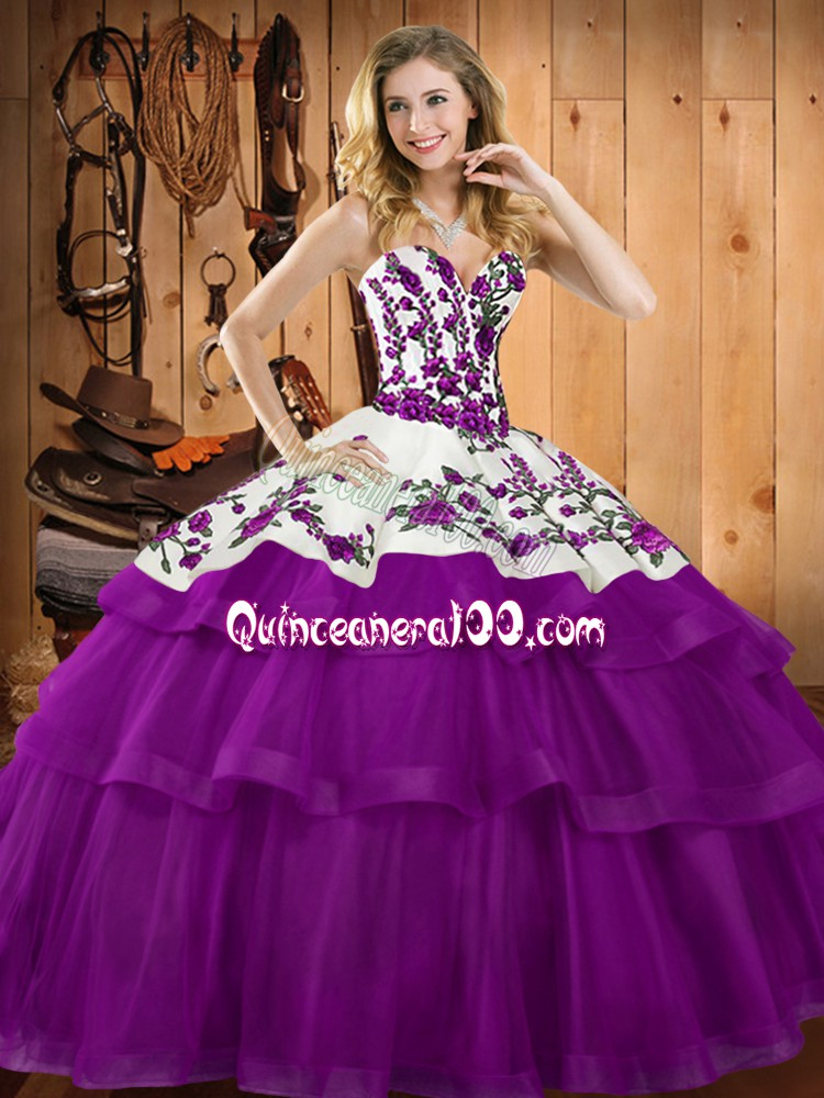Edgy Sleeveless Floor Length Embroidery and Ruffles Lace Up Sweet 16 Dress with Purple