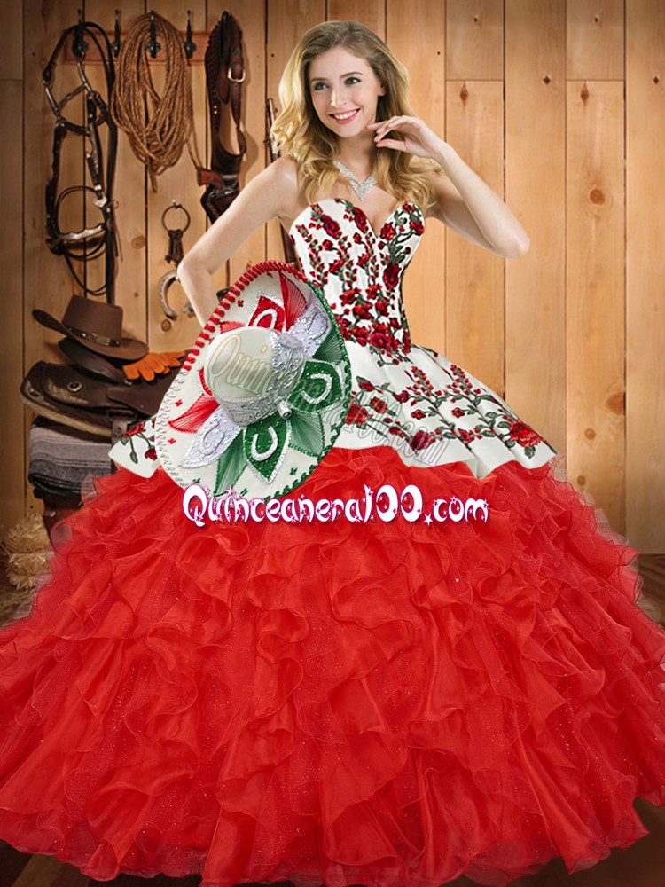 Red Tulle Lace Up Sweetheart Sleeveless Floor Length Vestidos de Quinceanera Embroidery and Ruffles