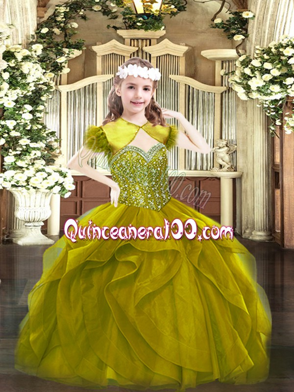 Tulle Straps Sleeveless Lace Up Beading and Ruffles Girls Pageant Dresses in Olive Green