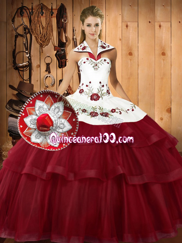 Pretty Wine Red Sleeveless With Train Embroidery and Ruffled Layers Lace Up Quinceanera Gown