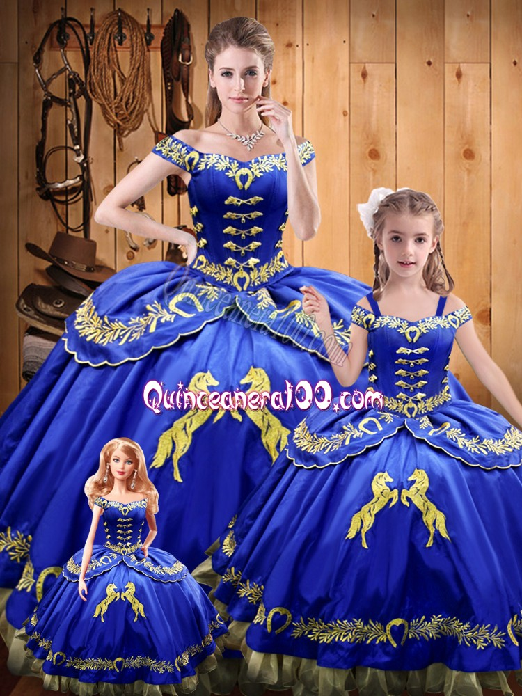 Smart Ball Gowns Sweet 16 Dresses Royal Blue Off The Shoulder Satin and Organza Sleeveless Floor Length Lace Up