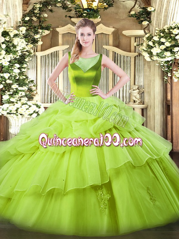 Artistic Sleeveless Beading and Pick Ups Floor Length Ball Gown Prom Dress