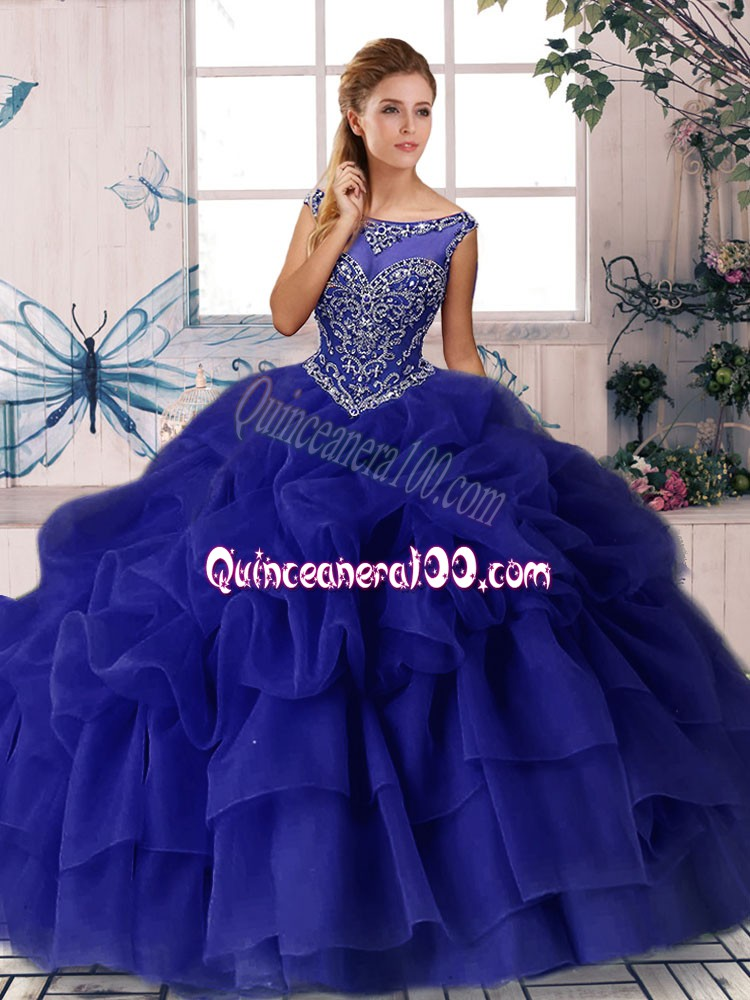 Inexpensive Sleeveless Beading and Pick Ups Zipper Quinceanera Gowns with Purple Brush Train