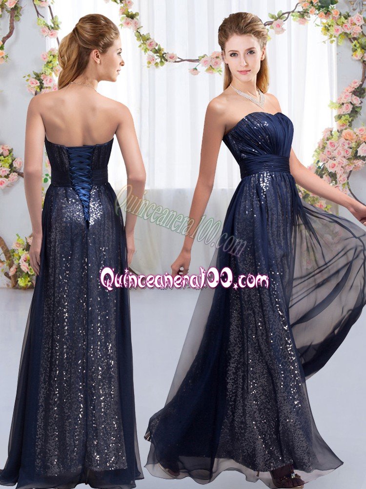 Attractive Sleeveless Lace Up Floor Length Sequins Quinceanera Court of Honor Dress