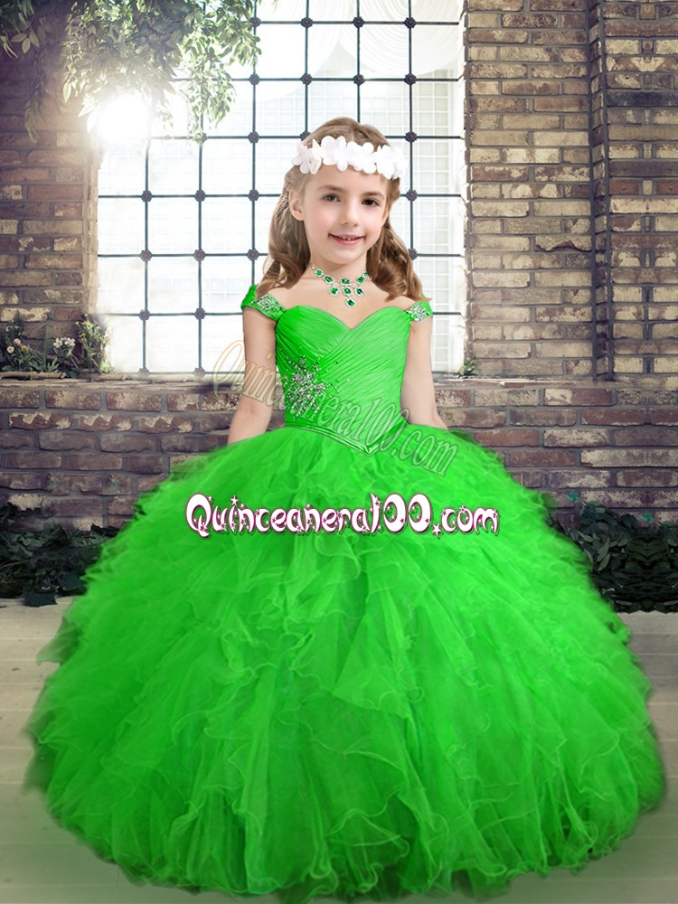 Sleeveless Floor Length Beading and Ruffles Lace Up Pageant Gowns For Girls with Green