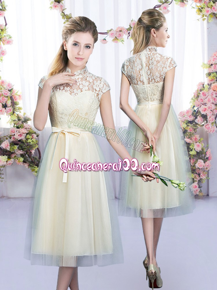 Champagne Dama Dress for Quinceanera Wedding Party with Lace and Bowknot High-neck Cap Sleeves Zipper