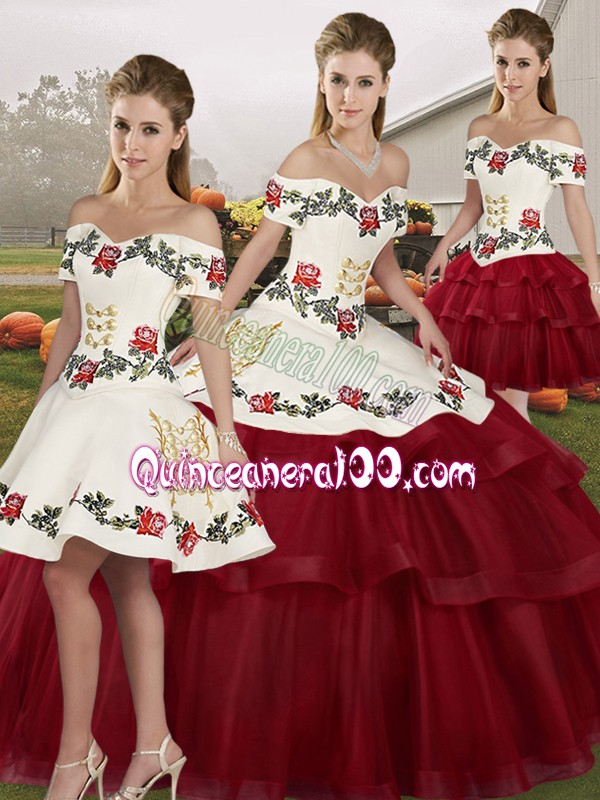 Wine Red Tulle Lace Up Off The Shoulder Sleeveless Sweet 16 Dresses Brush Train Embroidery and Ruffled Layers