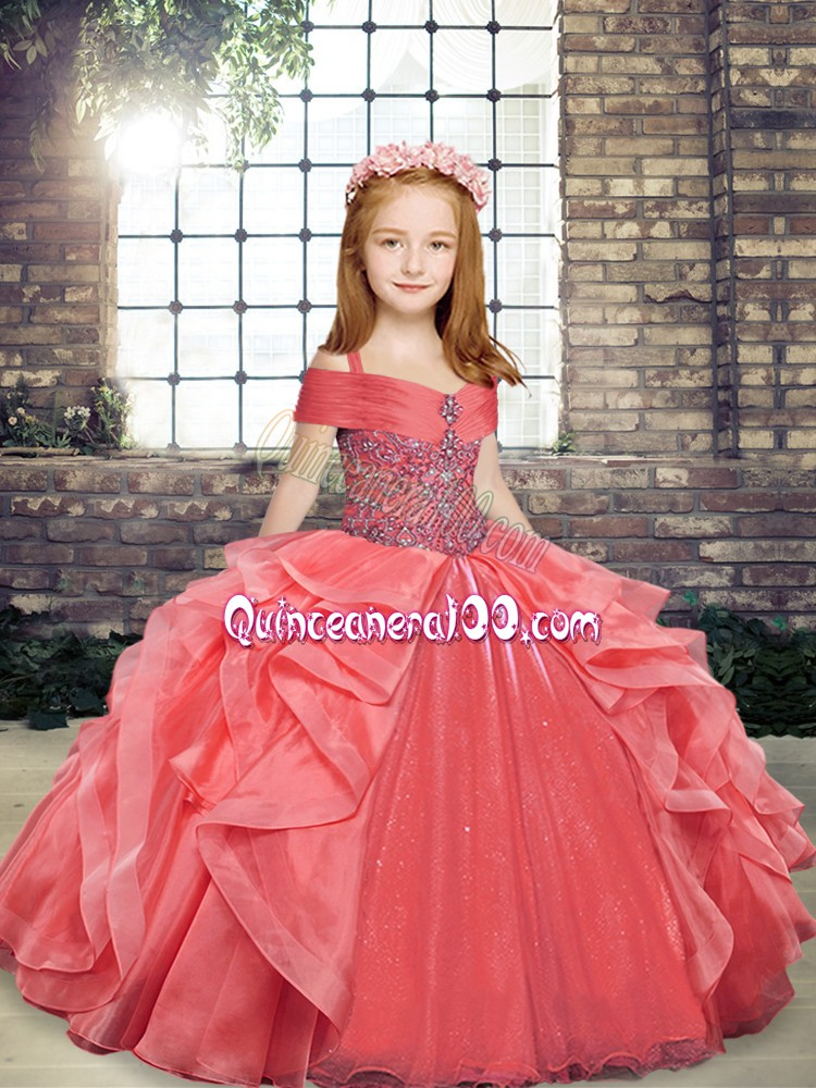 Classical Coral Red Ball Gowns Organza Straps Sleeveless Beading and Ruffles Floor Length Lace Up Child Pageant Dress