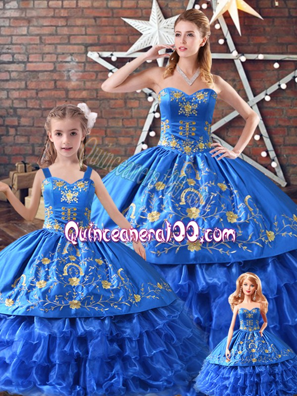 Romantic Satin and Organza Sleeveless 15th Birthday Dress and Embroidery